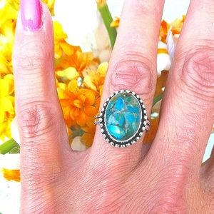 Copper Turquoise 925 Silver Ring
